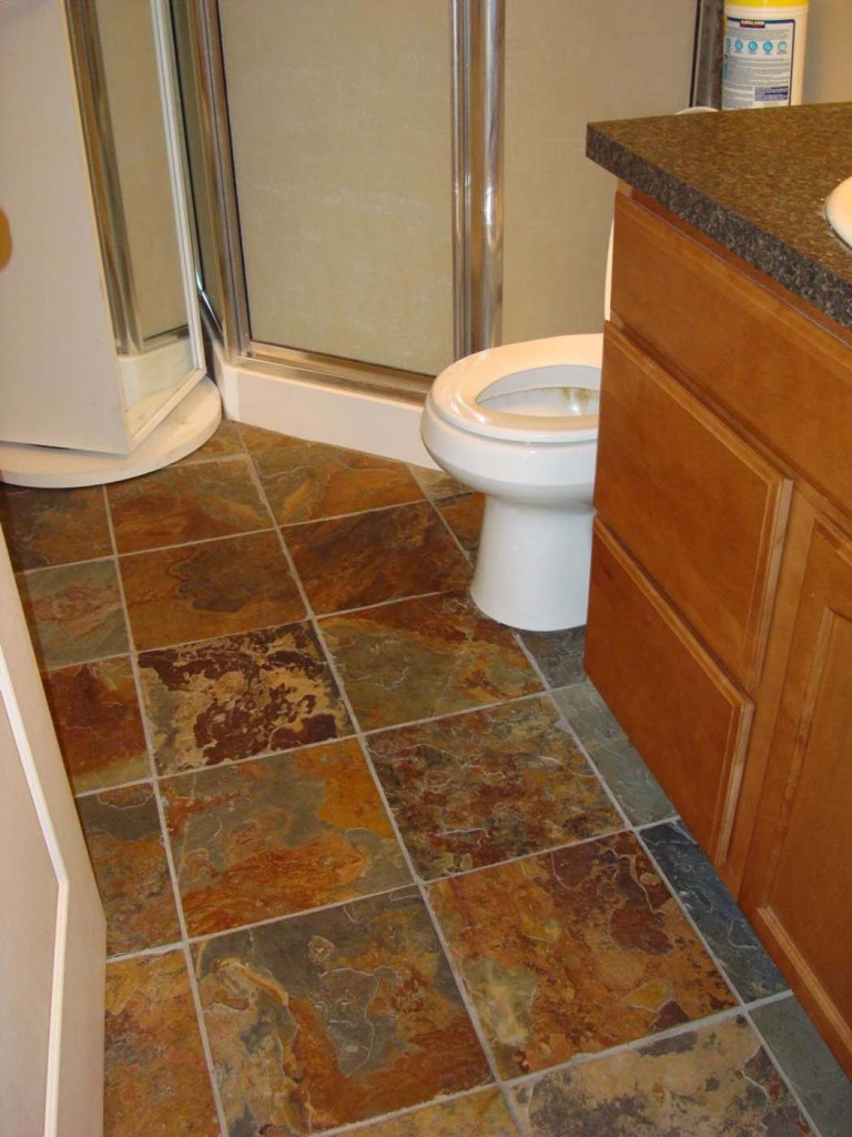 Bathroom slate tile floor in blairmore anderson homes renos Bathroom flooring tile